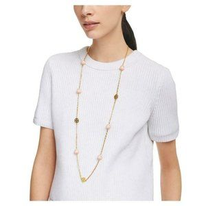 NEW Gorgeous Tory Burch Pink/Gold Pearl Necklace